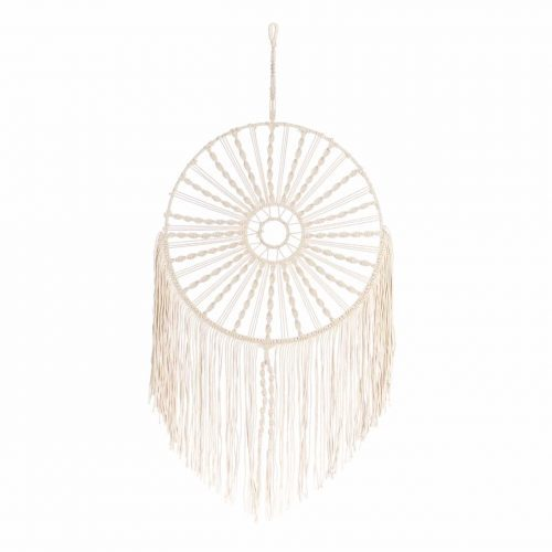 Macrame wall hanging met metalen ring 55x100 cm